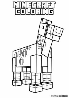 Printable Minecraft coloring - Horse