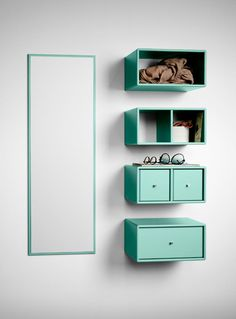Montana - Montana GT Wall Set Mirror and wall console - green/ Green Tea Mirror 4 console items/each Shelf Furniture, Home Decor Furniture, Floating Nightstand, Floating Shelves, Montana Furniture, Apartment Entryway, Storage Shelves, Shelving, Colorful Interiors