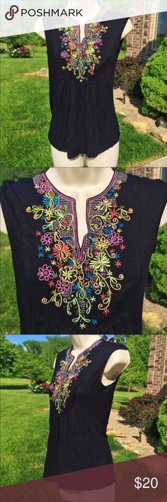 Design History Floral Embroidered Tank Gorgeous tank by Design History. Black with colorful floral embroidery. Excellent condition! Size S. 95% viscose, 5% spandex. Design History Tops Tank Tops