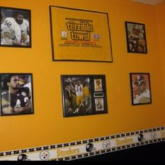Steelers Bedroom Ideas wallpaper stripes, stencils and some paint. voila! noah's room