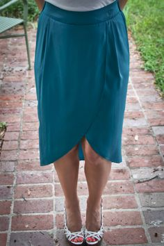 Teal Skirt Knee length and longer in the back with slit