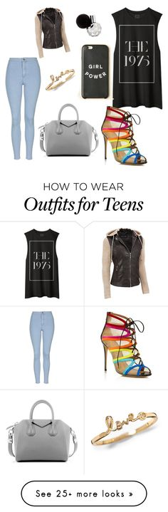 """""""welcome to 1975"""" by patrickangie on Polyvore featuring Topshop, Salvatore Ferragamo, Givenchy, Black Rivet, women's clothing, women, female, woman, misses and juniors"""