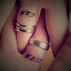 Wedding date Tattooed on bride and groom ring fingers  #ideas -  #married couple