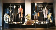 A display of the costumes belonging to the central four characters from Fantastic Beasts and Where to Find Them.