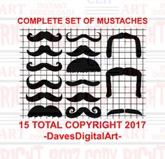 Set of 15 mustache clip art Curled mustache by DavesDigitalArt
