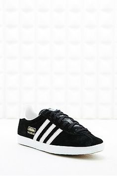 big sale f29fa c15a2 Adidas Gazelle Suede Trainers in Black Urban Outfitters Women, Suede  Trainers, Pink Leather,
