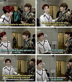 Exo and BTS interactions. I'm not crying you are TaeTae and Junmyeon are being so nice to each other why can't ARMYs and Exo-ls be this way towards each other. Bts Boys, Bts Bangtan Boy, Jimin, Shinee, Namjoon, Taehyung, Exo Memes, Suho Exo, Bts And Exo