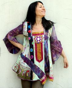 M-L Crazy banjara patchwork dress tunic hippie boho India style