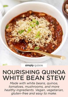 This dreamy quinoa and white bean stew is nourishing, comforting, and completely vegetarian. This recipe is also healthy, vegan, gluten-free, easy to make and is packed with protein! Great cozy dinner idea for the winter time or chilly nights.