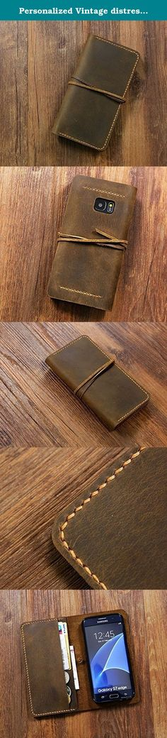 """Personalized Vintage distressed genuine leather Galaxy S7 Case / S6 S7 Edge wallet cover / S6 S7 Edge Wallet case - GS005WS. **************************************** Why we honor and insist on hand sew our leather product ? Leather sewing machines commonly use the """"lock stitch"""" , If just one loop of a lock stitch is broken, the other side will automatically be loosened, often this process of unraveling will continue until the entire product is ruined. Hand sewing (saddle stitch) will not..."""