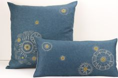 Hand embroidered linen cushions by L.Martina