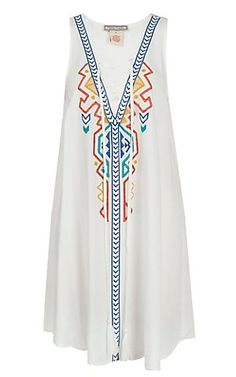 Flying Tomato Women's White with Colorful Tribal Embroidery Sleeveless Dress