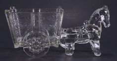 Vintage Crystal Donkey & Cart Candy Dish Planter Large 9 1/4""