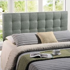 Lily Queen Fabric Headboard in Gray