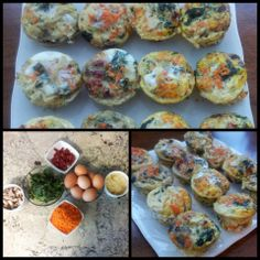 Breakfast on the go meal prep fun!  Brown eggs, sun-dried tomatoes, onion, kale ..cooked first in coconut oil and seasoned with apple cider vinegar-garlic- himalayan sea salt, carrots, garlic, and baby portabella mushrooms. I season the mixture with a dash of fresh ground pepper and himalayan sea salt. Coat muffin pans with coconut oil, pour in a splash of whisked eggs, add veggies,top with remaining eggs and bake for 30 mins at 350.
