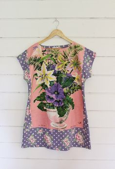de70933b97 Upcycled Linen Tea Towel Tunic Women Dress Floral Mod Mini Purple Mave Pink  Spots Lilly Shabby