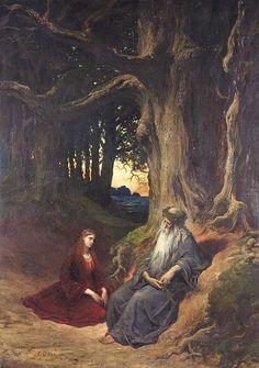 Viviane et Merlin se reposant dans la forêt by  Gustave Dore