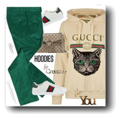 """""""In My Hood: Cozy Hoodies"""" by snezanamilunovic ❤ liked on Polyvore featuring Gucci, Letter2Word and Hoodies"""