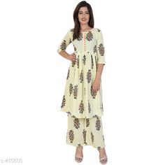 Kurta Sets Fancy Women Kurta Sets Fabric: Cotton Sleeves: Sleeves Are Included  Size: Kurti - M - 38 in Palazzo - 30 in/ Kurti - L - 40 in Palazzo - 32 in/ Kurti - XL - 42 in Palazzo - 34 in/ Kurti - M - 44 in Palazzo - 36 in Length: Kurtis - Up To 46 in              Palazzo - Up To 39 in Type: Stitched Description: It Has 1 Piece Of Kurti And 1 piece Of Palazzo Work/Pattern: Printed Country of Origin: India Sizes Available: XXS, XS, S, M, L, XL, XXL, XXXL, 4XL, 5XL, 6XL, 7XL, 8XL, 9XL, 10XL, Free Size   Catalog Rating: ★4 (415)  Catalog Name: Womens Elegant Dailywear Kurtis Vol 2 CatalogID_44973 C74-SC1003 Code: 714-415600-3201