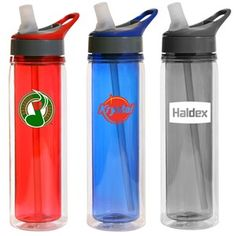 A 600ml double walled water bottle made with Tritan plastic. Features include a straw and flip spout and hard plastic holder to carry or fix onto a bag. This bottle is BPA free.