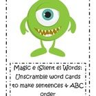 pages of 6 cards each of Word Cards to unscramble and make sentences and pages of 6 cards each of Silent e words. Long E Words, Magic E Words, Unscramble Words, Wilson Reading, Spelling Activities, Reading Passages, Common Core Math, Word Families, Word Work