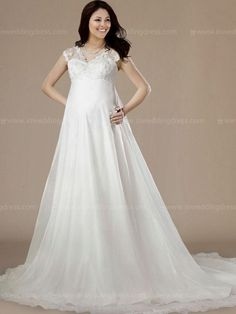 Maternity wedding dress features in organza. Cap sleeves add coverage while…