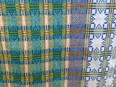 Vintage WOVEN Table Cloth | Square Shape | Green, Blue, Yellow and White Pattern by BROCANTEBedStuy on Etsy