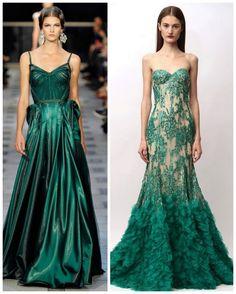 emerald green gowns.