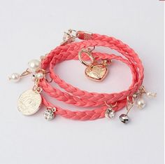 pulsera trenzada larga color coral