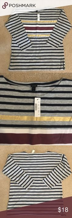 NWT J Crew striped shirt J. Crew Grey, navy, burgundy, white and gold striped shirt with 3/4 length sleeves. Slots on bottom sides. Fresh layering tee or wear by itself! J. Crew Tops Tees - Long Sleeve