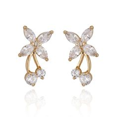 2x1cm Chic 18K Gold Plated Copper Butterfly Shape Earring Stud Inlaid White Zircon Ladies Earrings