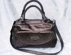 Etienne Aigner Satchel, Metallic Bronze Gun Metal Double Braided Strap Handbag #EtienneAigner #Satchel