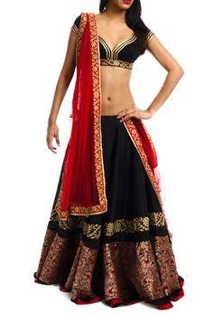 Black Rawsilk Lehenga with Brocade & Red Oriental Fashion, Ethnic Fashion, Asian Fashion, Indian Bridal Lehenga, Indian Sarees, Indian Attire, Indian Wear, Indian Dresses, Indian Outfits