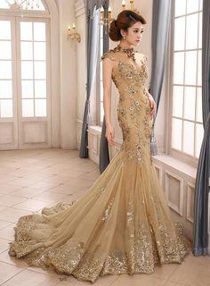 comprar vestido de noche largo de la vendimia de alta cuello apliques sirena sin espalda con cordones Online ,precio: USD$281.09