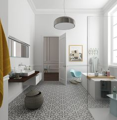Eclectic Bathrooms with Gorgeous Patterned Tile Floors