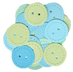 Baby Shower Buttons Confetti - Mix of Blue, Aqua, and Green - 50 pieces. $2.00, via Etsy.