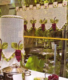 Crochet Kitchen Set: Step-by-step photos and tutorials - Decoration, Architecture, Construction, Furniture and decoration, Home Deco Crochet Simple, Love Crochet, Beautiful Crochet, Crochet Hooks, Knit Crochet, Net Curtains, Crochet Curtains, Crochet Doilies, Crochet Flowers