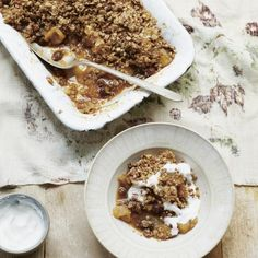 Deliciously Ella's Winter-Spiced Pear and Apple Crumble, a warm and comfort food dessert recipe from www.redonline.co.uk