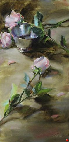 "Silver Bowl and Roses by Pamela Blaies Oil ~ 24"" x 12"""