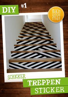 #DIY Tipp N°1 von DeineStadtKlebt.de. Treppen in Hingucker verwandeln. Im Digitaldruck ist jede Form und Farbe bei uns möglich. Die Anbringung der Motive ist mit einem Übertragungspapier auch ganz easy.