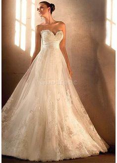 Robe de mariée de traîne mi-longue a-ligne appliques jardin/en plein air - photo 1