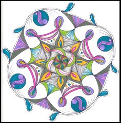 I used Genevieve's Mandala Templates to set up the pencil guides for this mandala.  More info available  on my blog: rainbowelephant.com