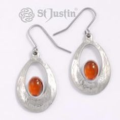St Justin Pewter Amber Slate Cabochon Pendant Small