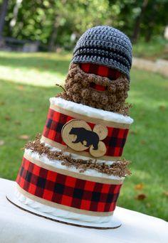 Lumberjack Baby Shower Centerpiece - Buffalo Plaid and Burlap Decoration - Lumberjack Diaper Cake - Boy Diaper Cake - Bearded Baby Hat