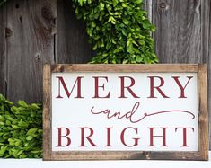 Merry and Bright wood sign, Christmas wood sign, Christmas sign, Christmas decor, Holiday decor, Holiday sign, Painted sign, Farmhouse sign