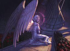 Another angel I love.  The halo is subtle, and the bare feet bring a deep melancholy sense.  Art by Eric Deschamps, website: http://www.ericdeschamps.com/