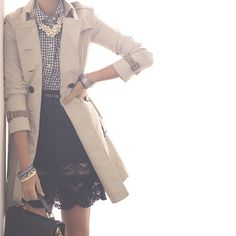 Plaid shirt, lace skirt + trench coat with pearls