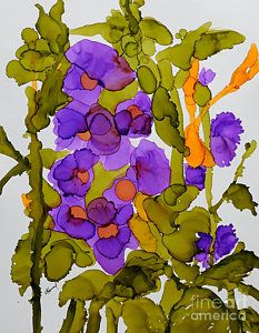 Alcohol Ink Painting - Garden Of Hollyhocks by Vicki Housel