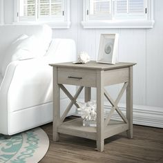 Bush Furniture Key West End Table with Storage, Washed Gray Living Room End Tables, Sofa End Tables, End Tables With Storage, Living Room Furniture, Side Tables, Coffee Tables, Design Furniture, Furniture Sets, Furniture Plans