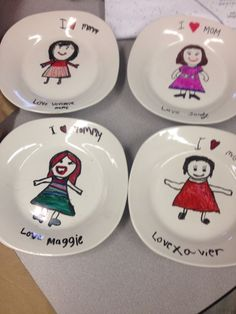 Mrs Vioski -Mother's Day plates - get plates and permanent sharpie markers at dollar store. Walk step by step direction using smart board showing students how you draw each step. When done then bake 350 oven for 45 minutes. My first grade students loved this project! Wrap using colorful tissue paper.